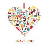 Herz von den Reiseikonen Lizenzfreies Stockfoto