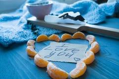 Herz von der Tangerine für Valentinsgruß ` s Tag mit Erklärung von lov stockbilder