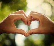 Herz von menschlichen Händen als Symbol der Liebe Lizenzfreies Stockfoto