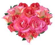 Herz von rosafarbenen Blumen Stockfotos