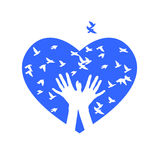 Herz von Vögeln Vektor Stockfotografie