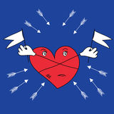 Herz wird vor den Pfeilen geschützt Stockbild