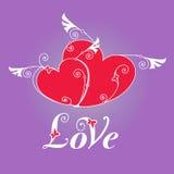 Herz zwei mit Flügeln für Designschablone Lizenzfreies Stockbild