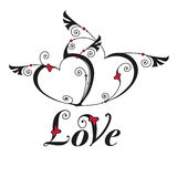 Herz zwei mit Flügeln für Designschablone Lizenzfreie Stockbilder
