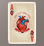 Herzass Spielkarte der Weinlese mit menschlicher Herzillustration Stockfotografie