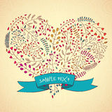 Herzblumenmuster, von Hand gezeichnete Illustration Lizenzfreie Stockfotos