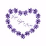 Herzdesign von Rosen Grußkarte, Valentinsgrußkarte für Mutter Blumen-Lavendelfarbe des Vektors rosafarbene Die Phrase ` Liebe Sie Lizenzfreie Stockfotos
