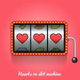 Herzen auf Spielautomaten Lizenzfreie Stockfotografie