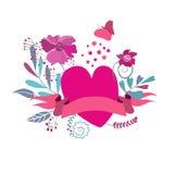 Herzen, Blumen und Bänder Lizenzfreies Stockfoto