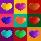 Herzen in den verschiedenen Farben Künstlerischer Knall Art Style Satz colo Stockbilder