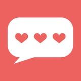 Herzen in der Spracheblasenikone Auch im corel abgehobenen Betrag Stockbild