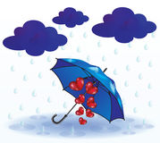 Herzen, die unter einem Regenschirm sich verstecken stock abbildung