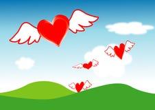 Herzen fliegen Stockbild