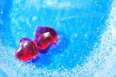 Herzen im Eis Lizenzfreies Stockfoto