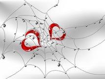 Herzen im Spinnennetz lizenzfreie abbildung