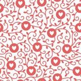 Herzen, Kreise und Ranken vector nahtloses Muster Stockbilder