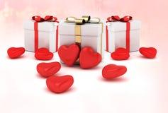 Herzen mit Wiedergabe des Geschenkboxvalentinsgruß ` s Tageshintergrundes 3D Stockfotos
