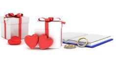 Herzen mit Wiedergabe des Geschenkboxvalentinsgruß ` s Tageshintergrundes 3D Stockfoto
