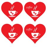 Herzen und Kaffee Ich liebe Kaffee Ich mag Kaffee lizenzfreie stockfotografie