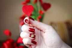 Herzen und Mani - Lied für Valentinsgruß ` s Tag Lizenzfreies Stockbild