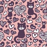 Herzen und nahtloses Muster der Katzen vektor abbildung
