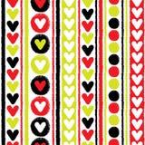 Herzen und nahtloses Vektormuster der Streifen Stockfotos