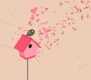 Herzen und romantischer Hintergrund der Musikvalentinsgrüße Stockbild