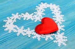 Herzen und Schneeflocken Lizenzfreie Stockfotografie