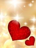 Herzen und Valentin-` s Tageskarte. Lizenzfreies Stockbild