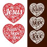 Herzen und Wörter Jesus, Hoffnung und Glaube und Liebe stock abbildung