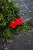 Herzen Valentinsgruß ` s an Tag auf Tanne und am konkreten Hintergrund mit Raum und leerem Platz Stockbild