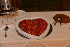 Herzerdbeerkuchen stockfoto