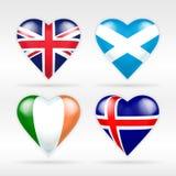 Herzflaggensatz Vereinigten Königreichs, Schottlands, Irlands und Islands europäische Staaten Lizenzfreie Stockbilder