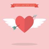 Herzfliegen mit Amorpfeil Stockfotografie
