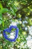 Herzform gemacht von den Kornblumen mit natürlichem Boke durch Sommer Stockfotografie