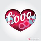 Herzform Illustration mit Liebes-Konzept stock abbildung