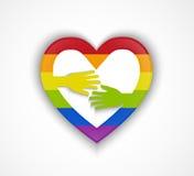 Herzform mit homosexueller Flagge und zwei Händen - homosexuelles Paarkonzept Stockbilder