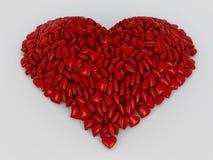 Herzform von den roten Herzen Lizenzfreie Stockfotografie