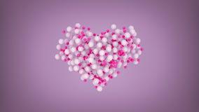 Herzform von den weißen und rosa Bällen 3D Illustration übertragen lizenzfreie abbildung