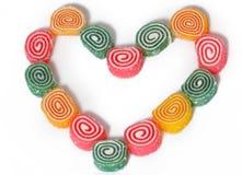Herzform von farbiger Jujube Lizenzfreie Stockbilder
