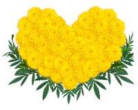 Herzform von Ringelblumen- oder Calendulablumen Lizenzfreies Stockfoto