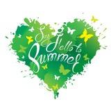 Herzform wird von den Bürstenanschlägen gemacht und befleckt in grünen Farben a stock abbildung