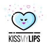 Herzformikone für Heilig-Valentine Day-Grußkarte Flache Linie Art Stockfoto