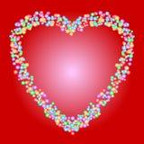Herzformmuster von bunten Perlen auf rotem Hintergrund Lieben Sie, Romance, Valentinsgruß oder Hochzeitskonzepte stock abbildung