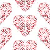 Herzformverzierung des Navajos nahtloses Vektormuster der roten Stockfotografie