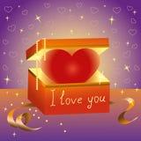Herzgeschenkbox, Liebeserklärung Stockfotografie