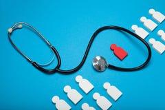 Herzgesundheit, -kardiologie und -stethoskop Sicherheit, Krankheit stockbild
