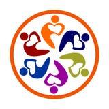 Herzgruppenteamleute-Vektorlogo Geschäft, Informationen lizenzfreie abbildung