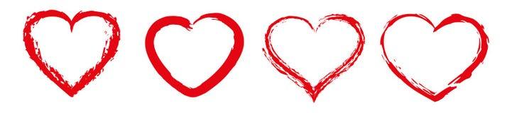 Herzikonen mit Bürstenmalereivektor Rot stieg auf weißen Hintergrund Tageszeichen des Valentinsgruß-s lizenzfreie stockfotos