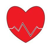 Herzimpuls, Herzschlagikonenvektor lokalisierte weißen Hintergrund Lizenzfreies Stockbild